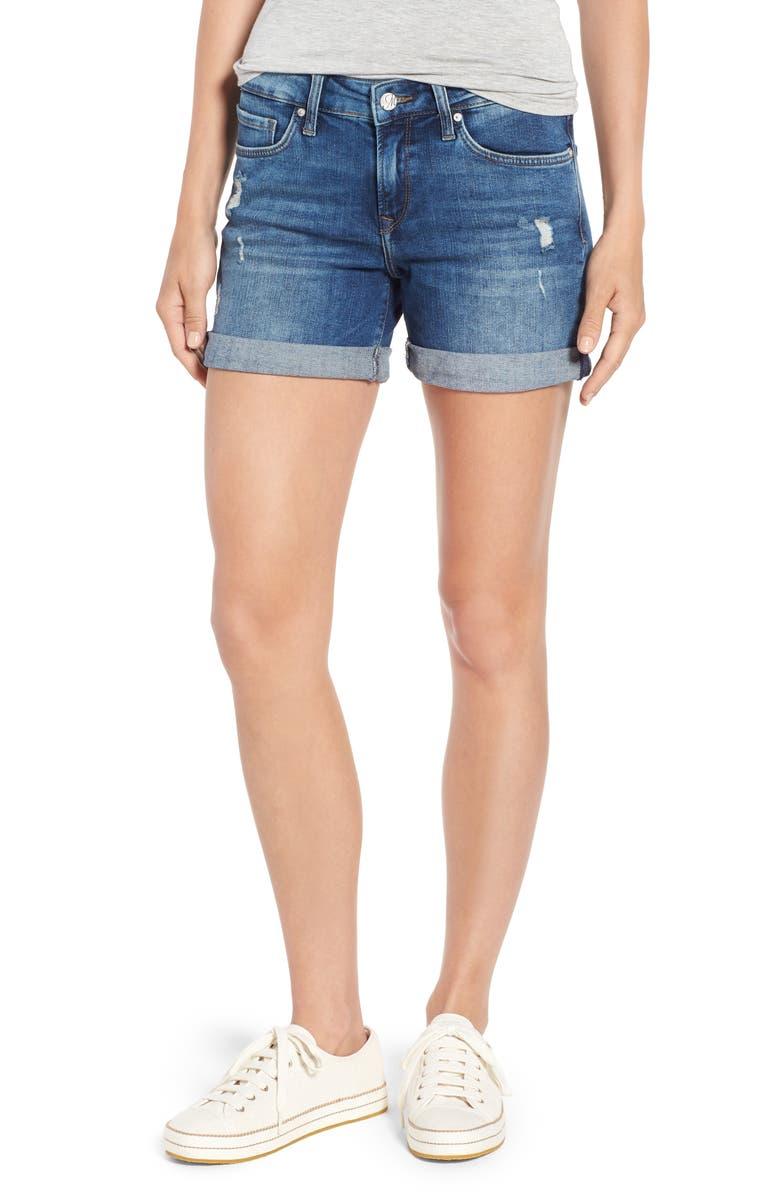 MAVI JEANS Marla Ripped Cutoff Denim Shorts, Main, color, 401