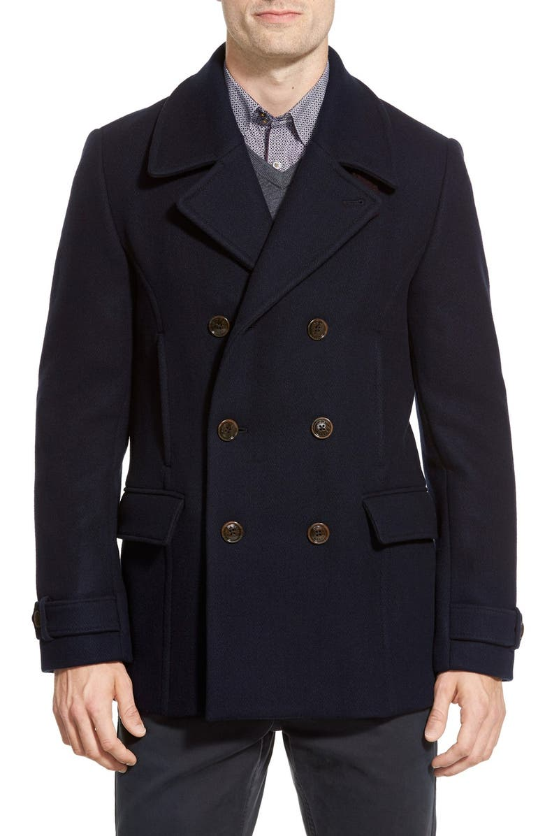 TED BAKER LONDON 'Ossain' Herringbone Double Breasted Peacoat, Main, color, 410