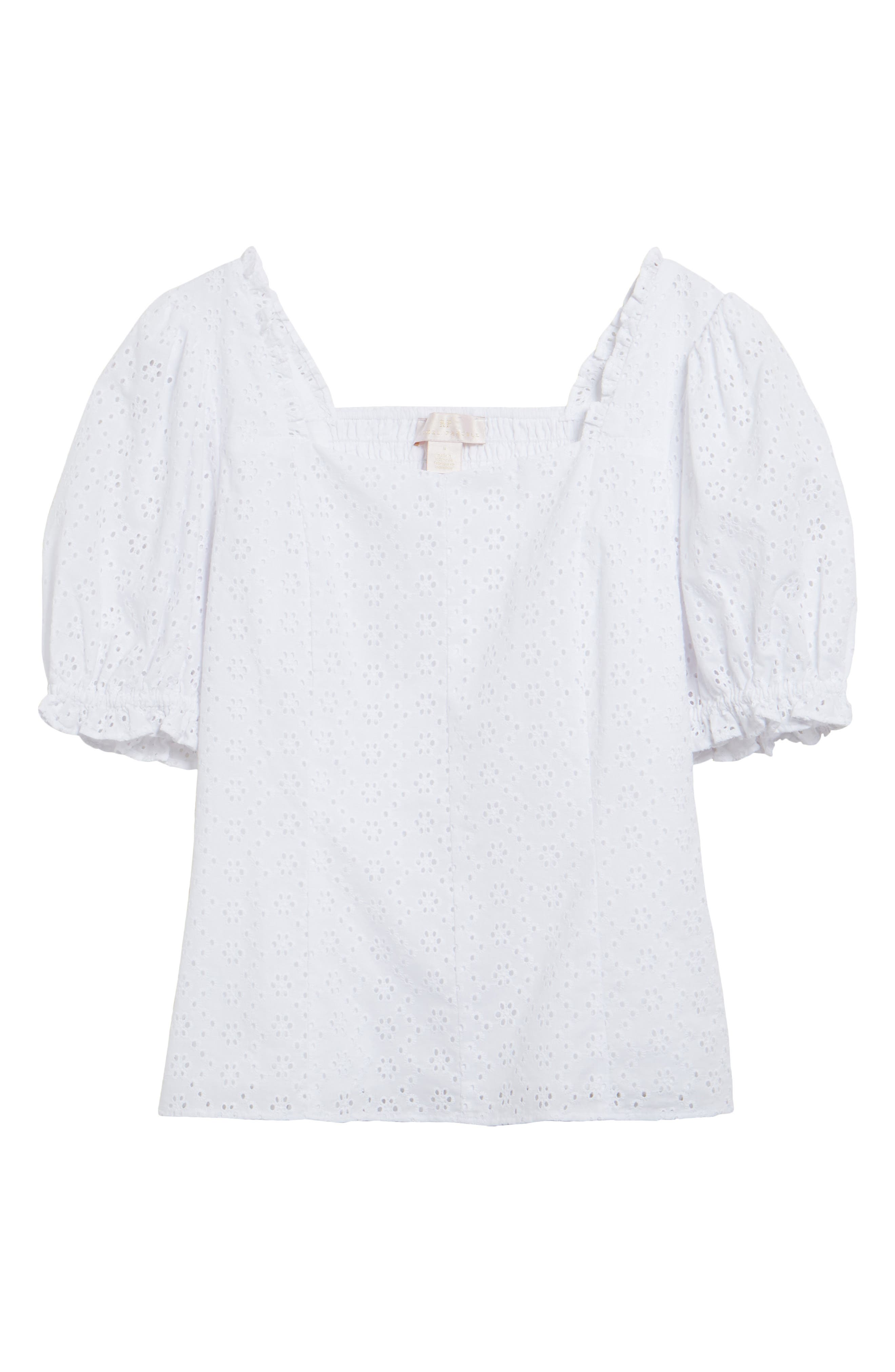 1940s Blouses and Tops Womens Rachel Parcell Puff Sleeve Eyelet Top Size X-Large - White $89.00 AT vintagedancer.com