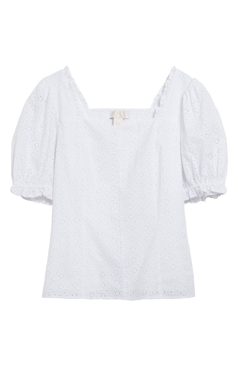 RACHEL PARCELL Puff Sleeve Eyelet Top, Main, color, 100