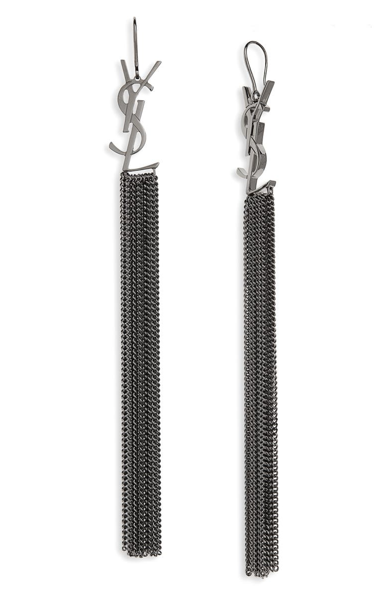 SAINT LAURENT Logo Fringe Linear Drop Earrings, Main, color, GREY