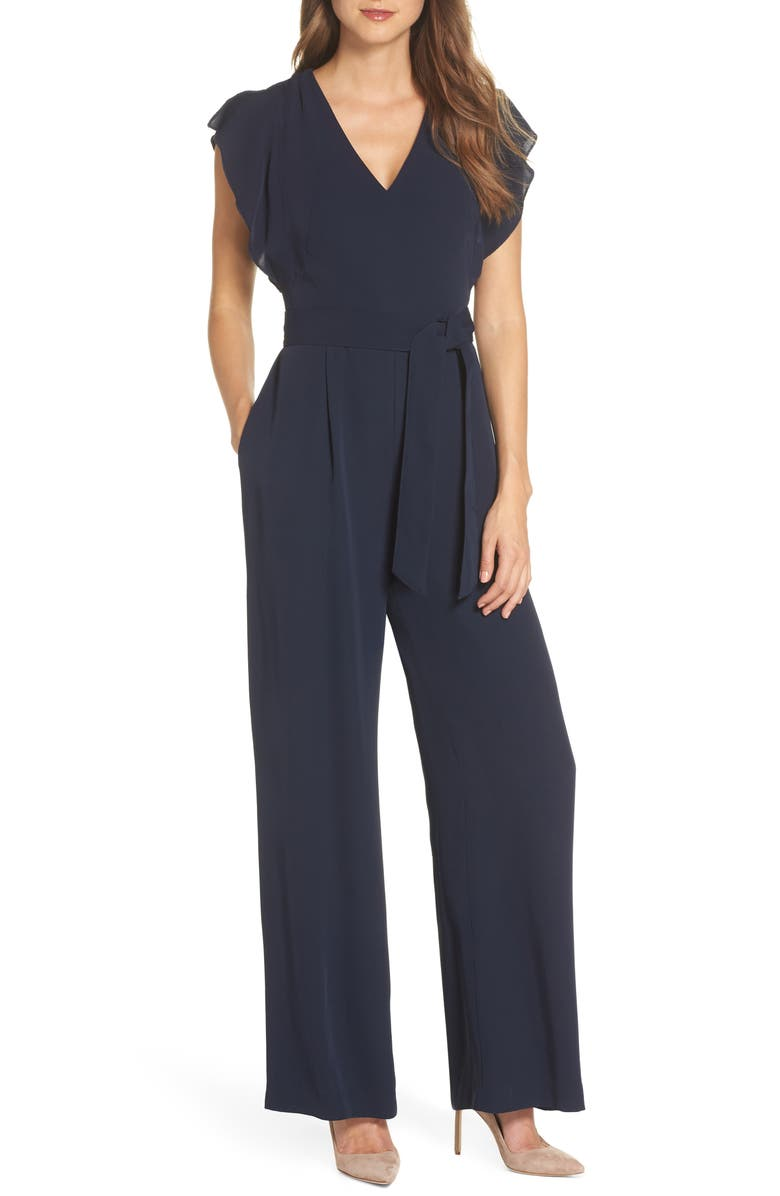 ELIZA J Flutter Sleeve Crepe Wide Leg Jumpsuit, Main, color, NAVY