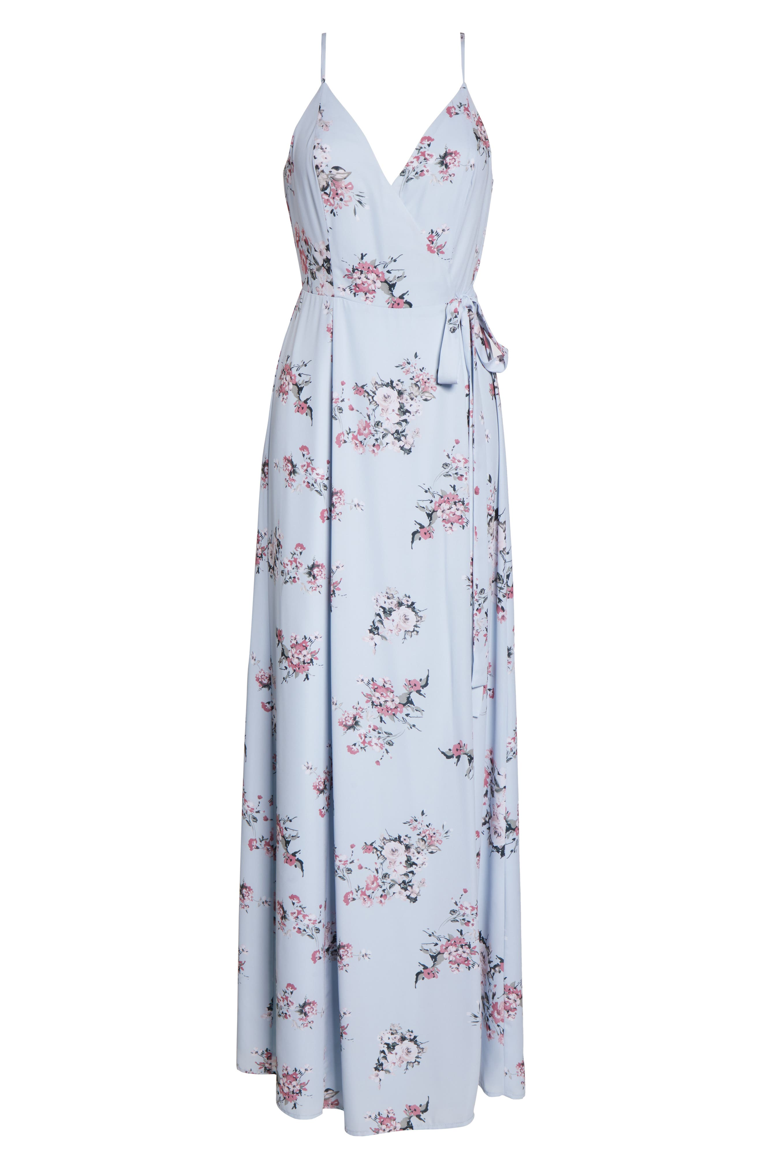 ,                             The Angelina Slit Wrap Gown,                             Alternate thumbnail 7, color,                             DUSTY BLUE FLORAL