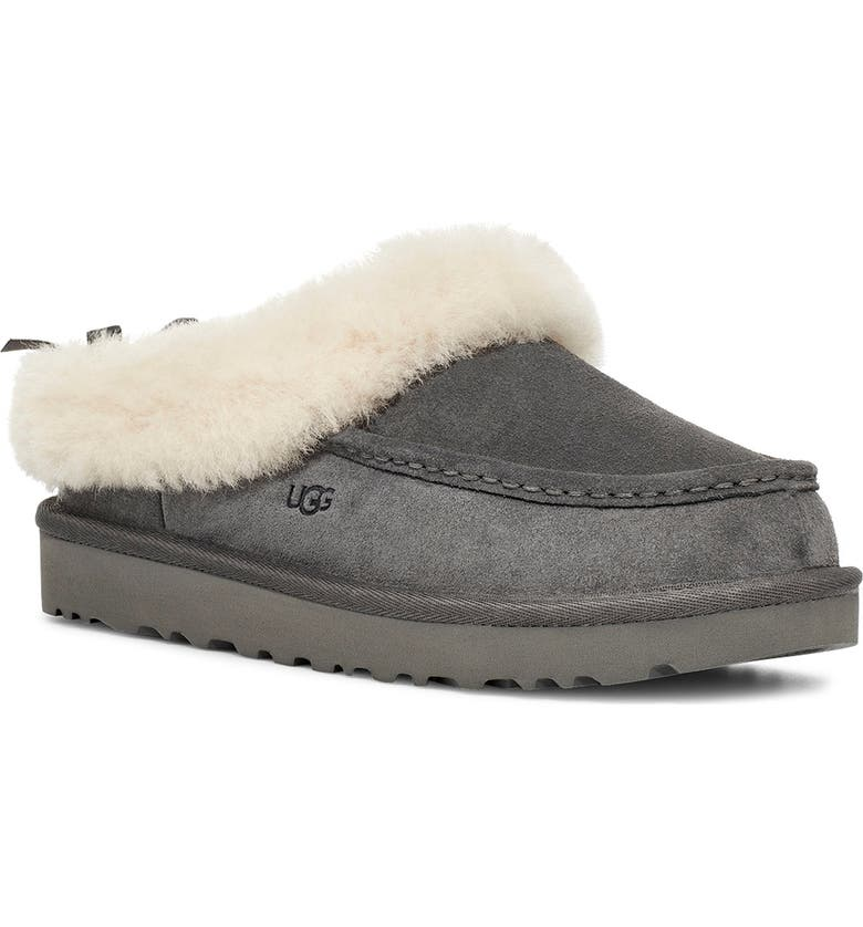 UGG<SUP>®</SUP> Grove Genuine Shearling Trim Slipper, Main, color, CHARCOAL SUEDE
