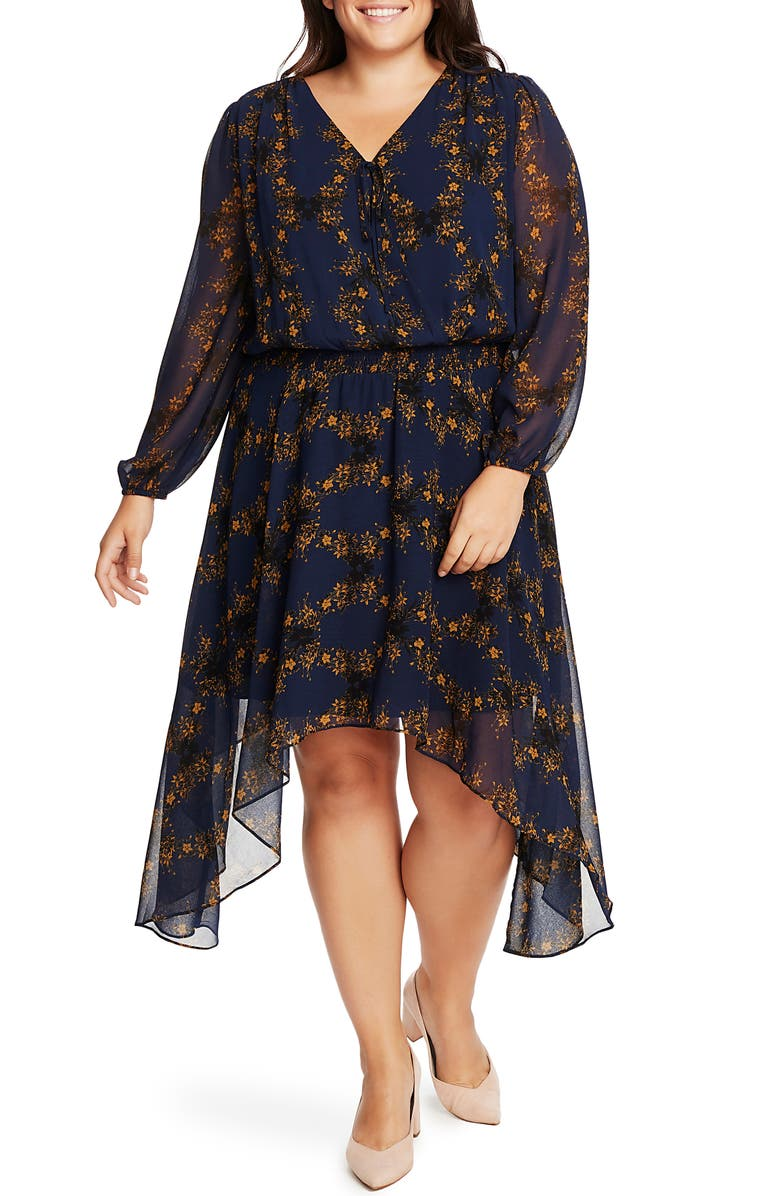 1.STATE Long Sleeve Floral Handkerchief Hem Dress, Main, color, BLUE NIGHT