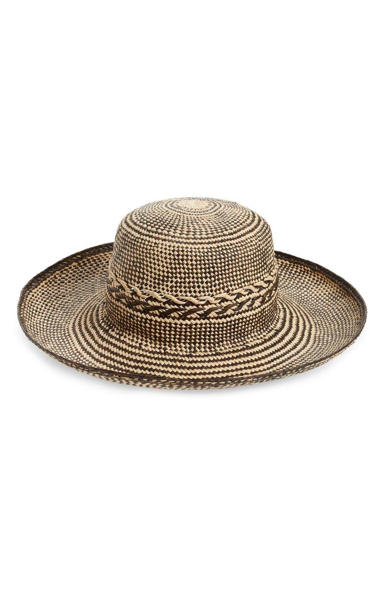 GLADYS TAMEZ Rexford Straw Hat, Main, color, BLACK/ CREAM