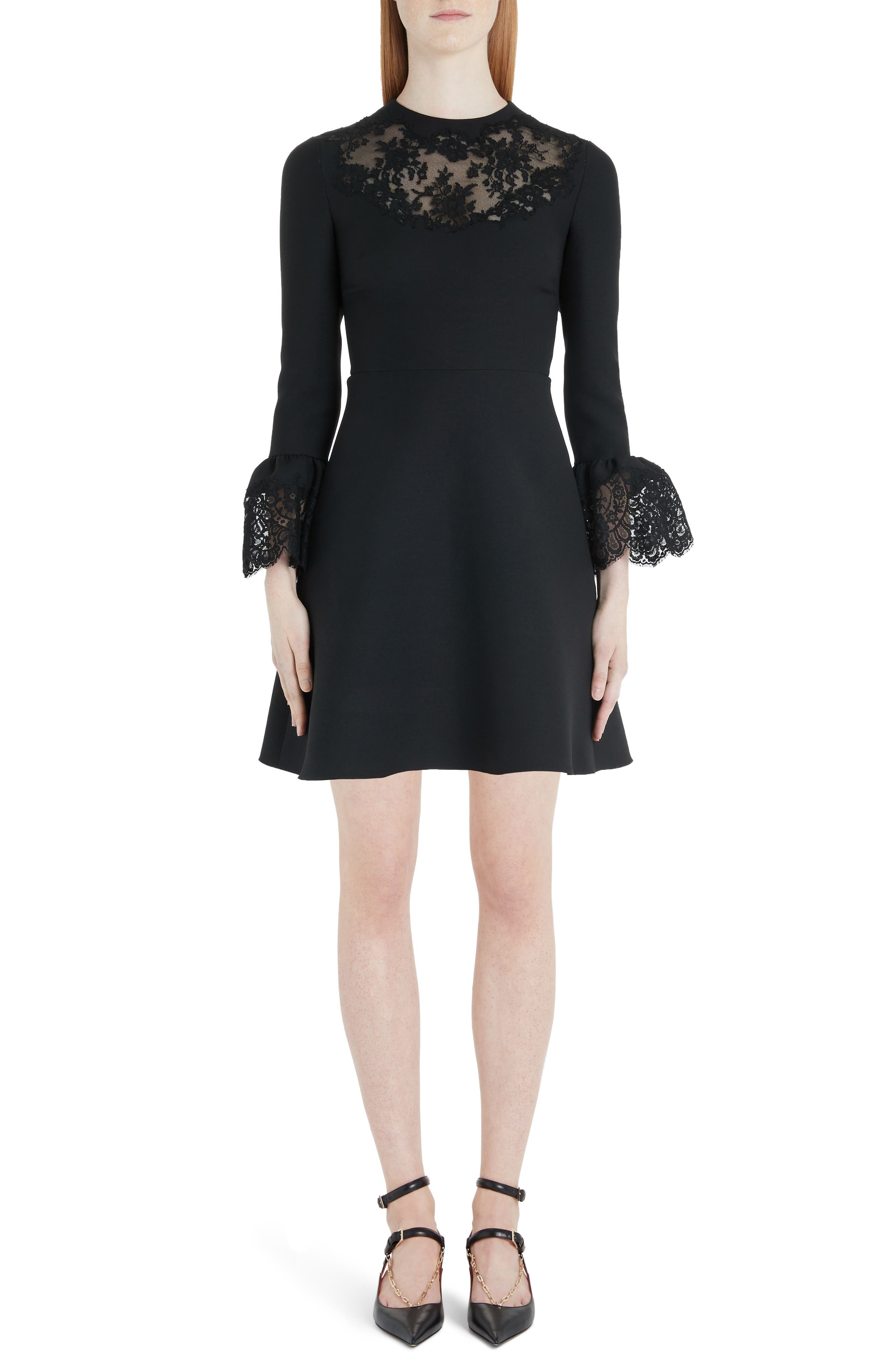 Valentino Lace Trim Flare Cuff Wool & Silk Minidress, 50 IT - Black