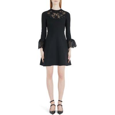 Valentino Lace Trim Flare Cuff Wool & Silk Minidress, 8 IT - Black
