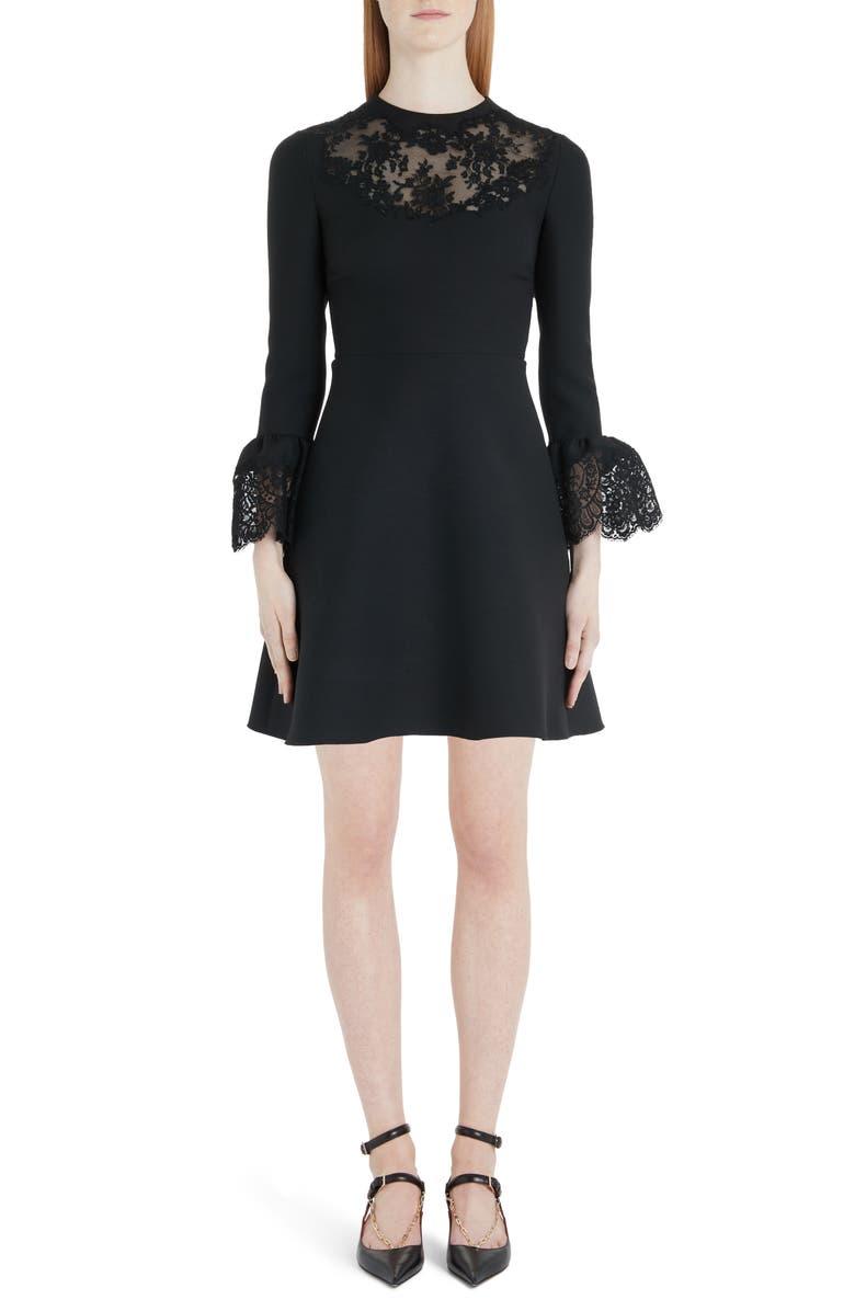 Lace Trim Flare Cuff Wool & Silk Minidress by Valentino