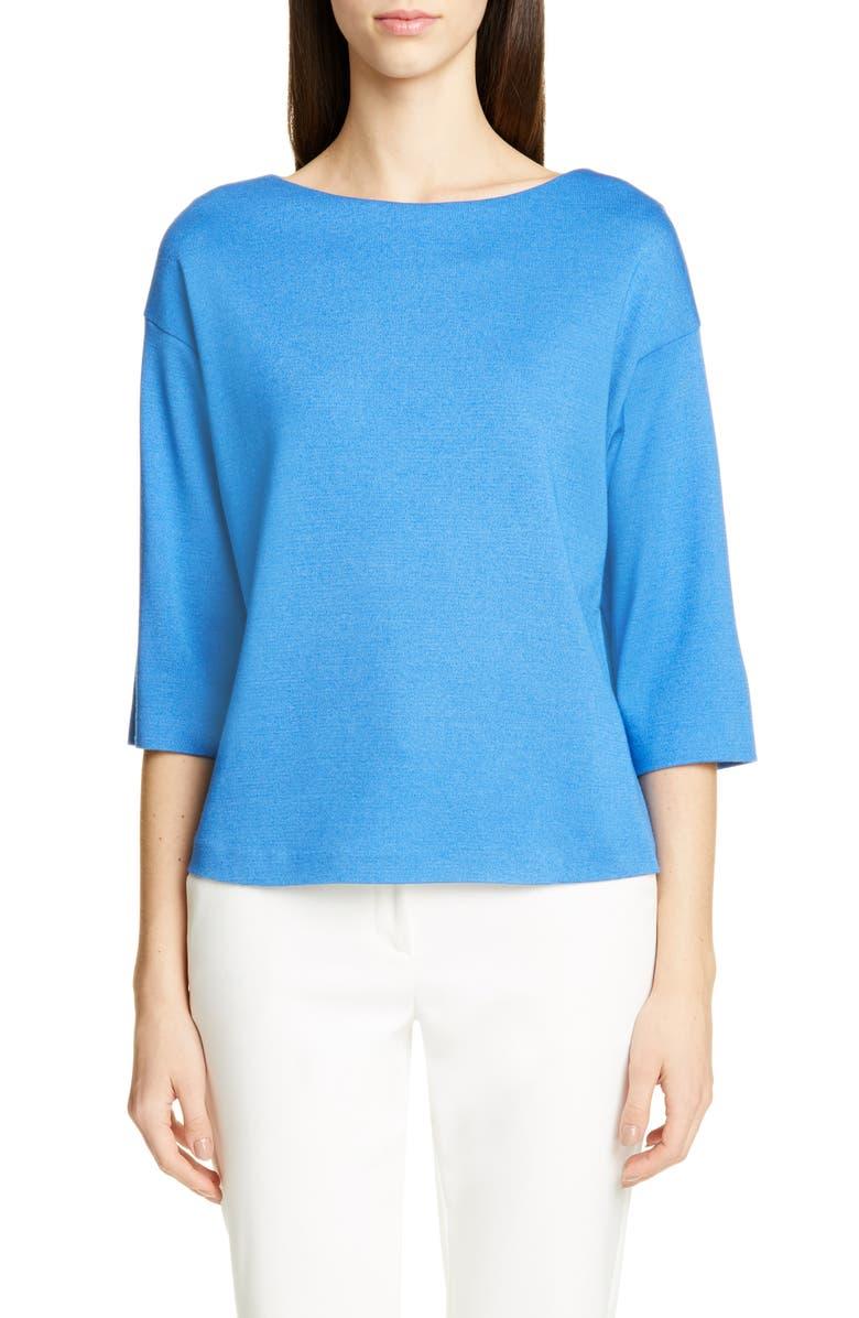 ST. JOHN COLLECTION Bateau Neck Milano Stitch Sweater, Main, color, LAKE BLUE