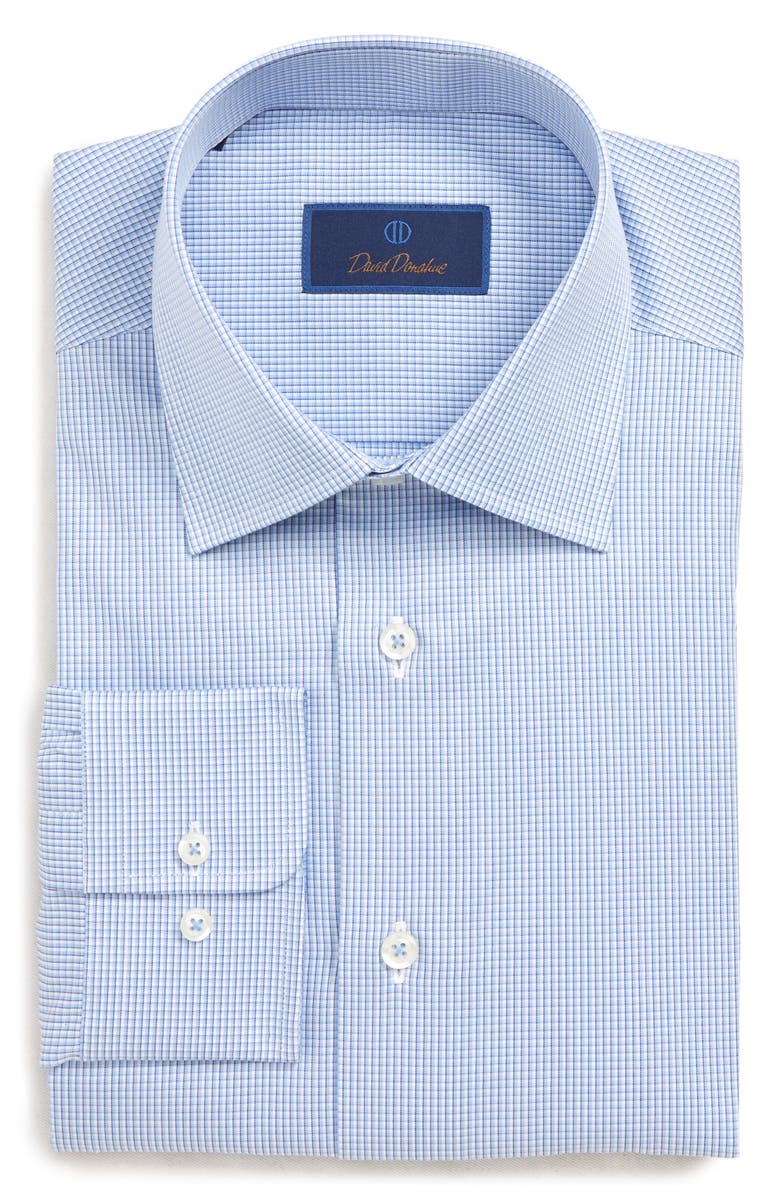 DAVID DONAHUE Regular Fit Check Dress Shirt, Main, color, BLUE