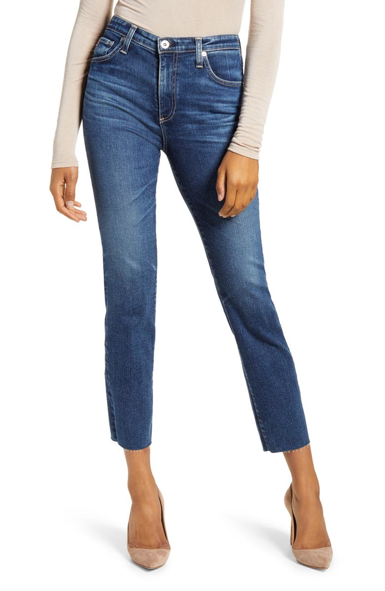 AG The Isabelle High Waist Ankle Straight Leg Jeans, Main, color, 13 YEARS CONSCIOUS