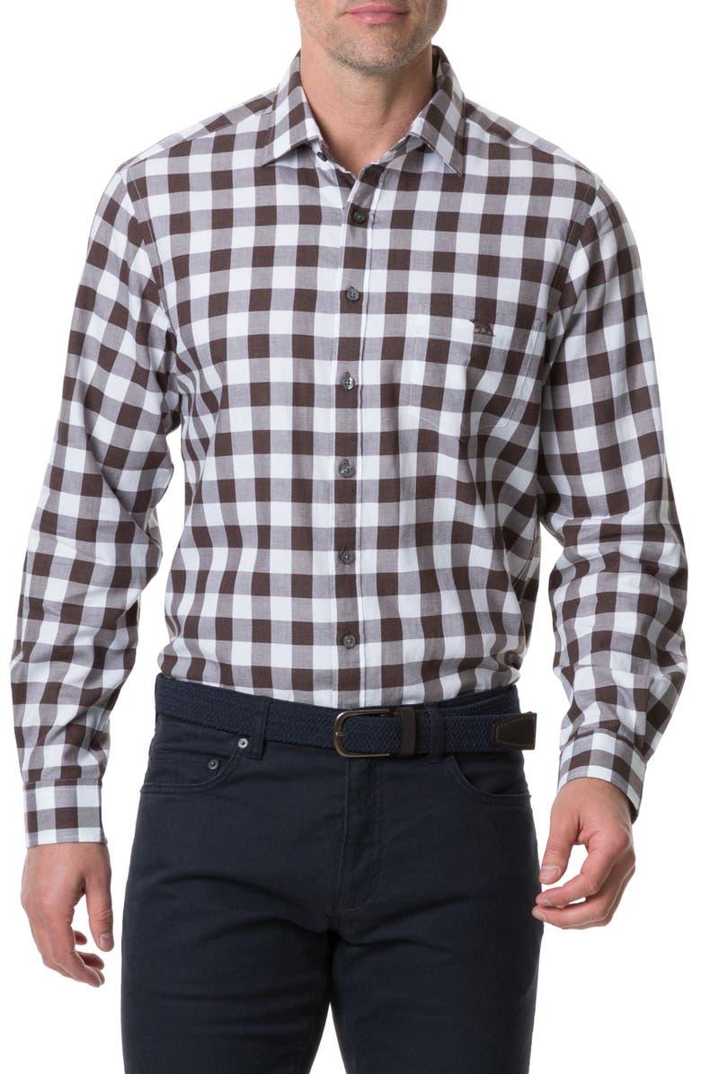 RODD & GUNN Flints Bush Regular Fit Check Button-Up Sport Shirt, Main, color, WALNUT