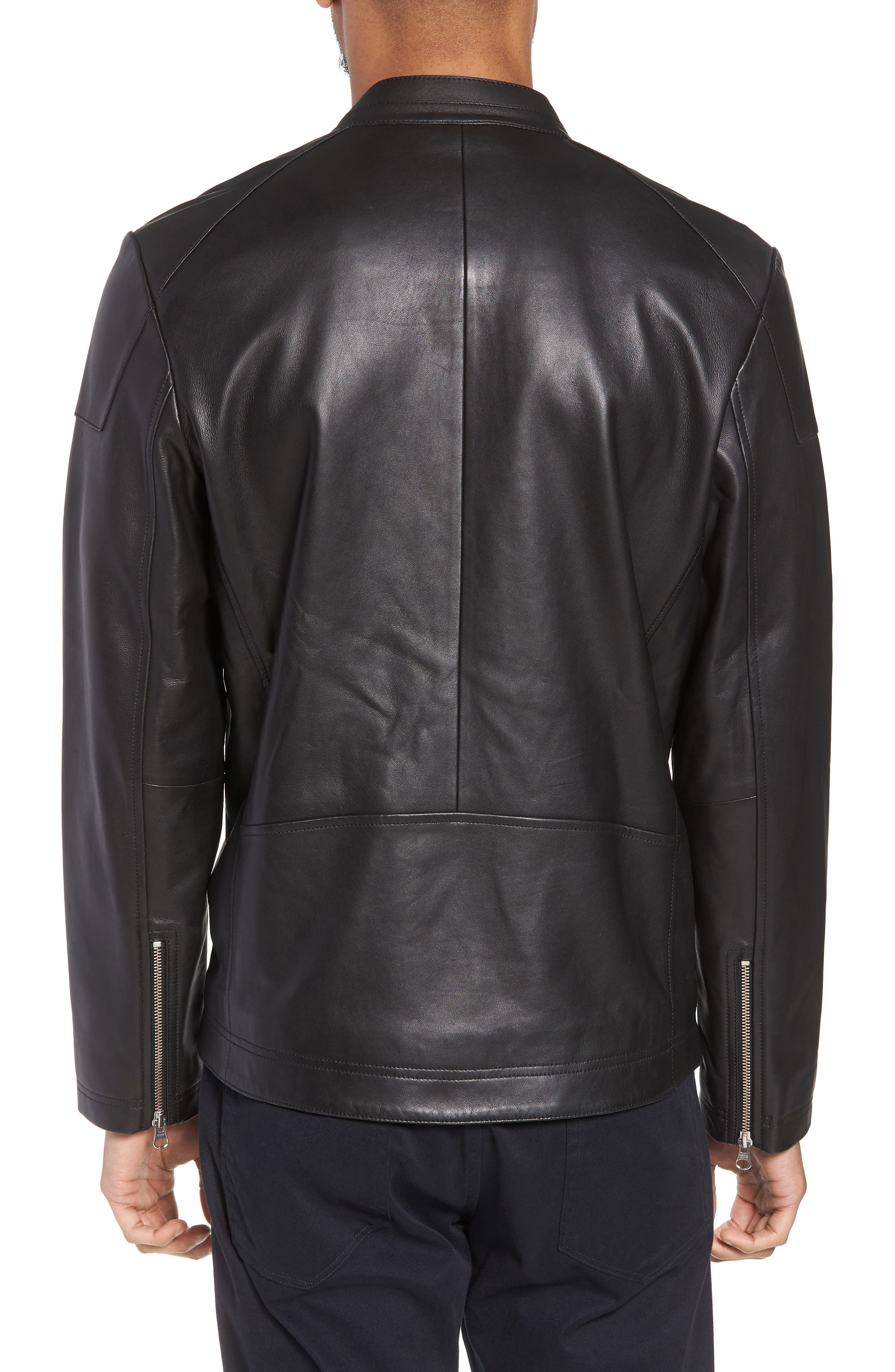 ,                             Leather Moto Jacket,                             Alternate thumbnail 2, color,                             001