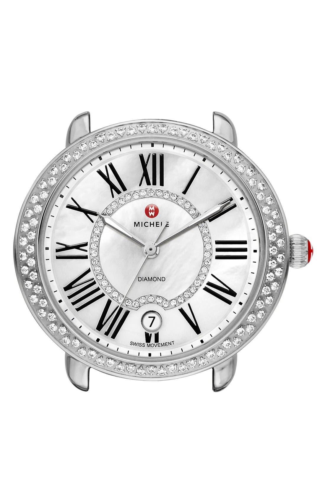 ,                             Serein 16 Diamond Watch Case, 34mm x 36mm,                             Alternate thumbnail 6, color,                             SILVER/ WHITE