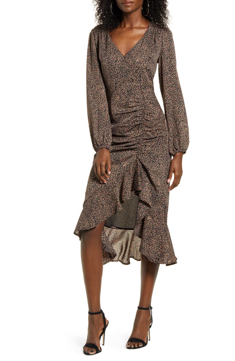 ALL IN FAVOR Ruffle Long Sleeve High/Low Midi Dress, Main, color, BLACK-TAUPE