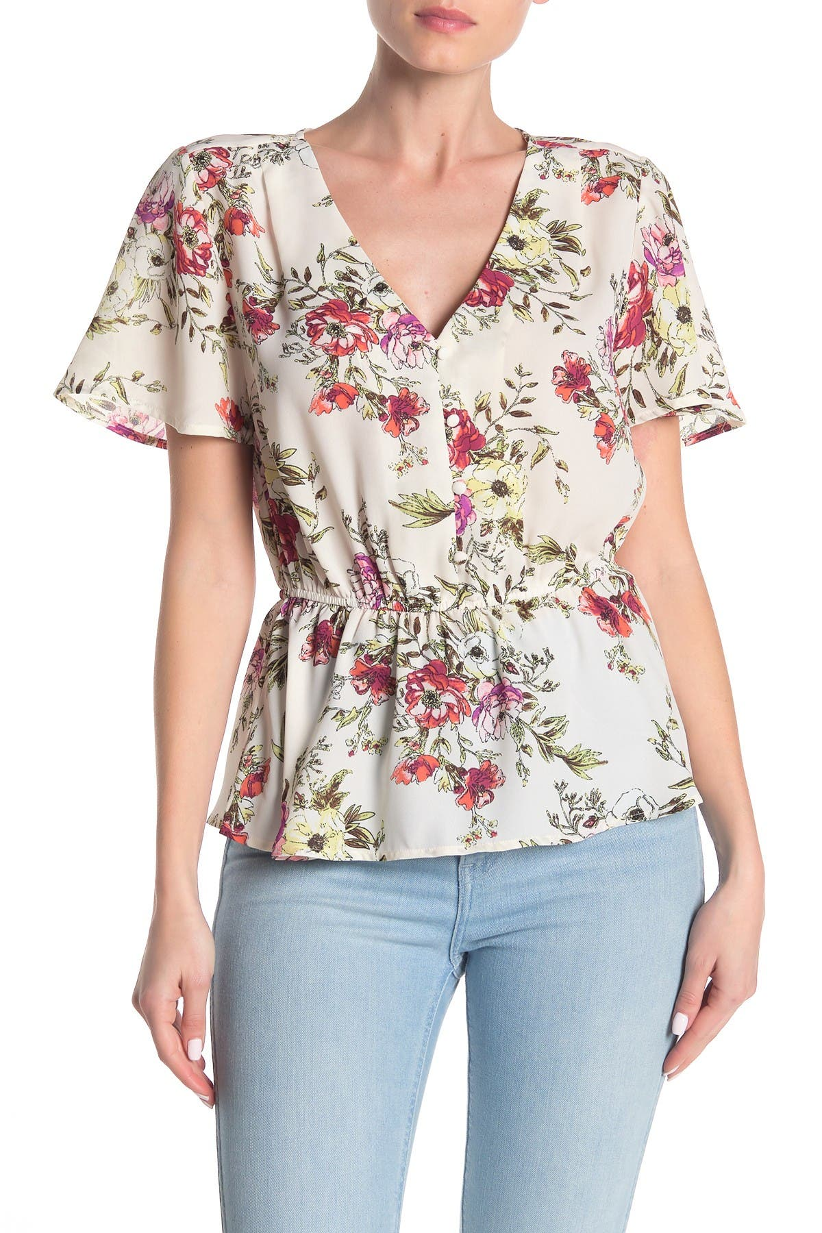 Image of Collective Concepts Short Sleeve Floral Button-Up Blouse