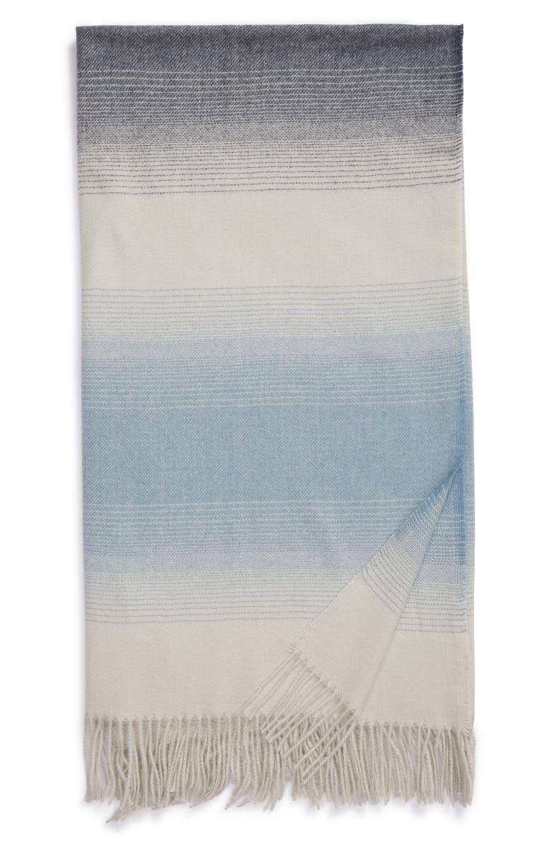 NORDSTROM Ombré Stripe Throw Blanket, Main, color, GREY FOG MULTI