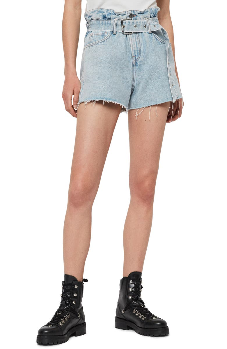 ALLSAINTS Hannah Paperbag Waist Denim Shorts, Main, color, LIGHT SNOW WASH