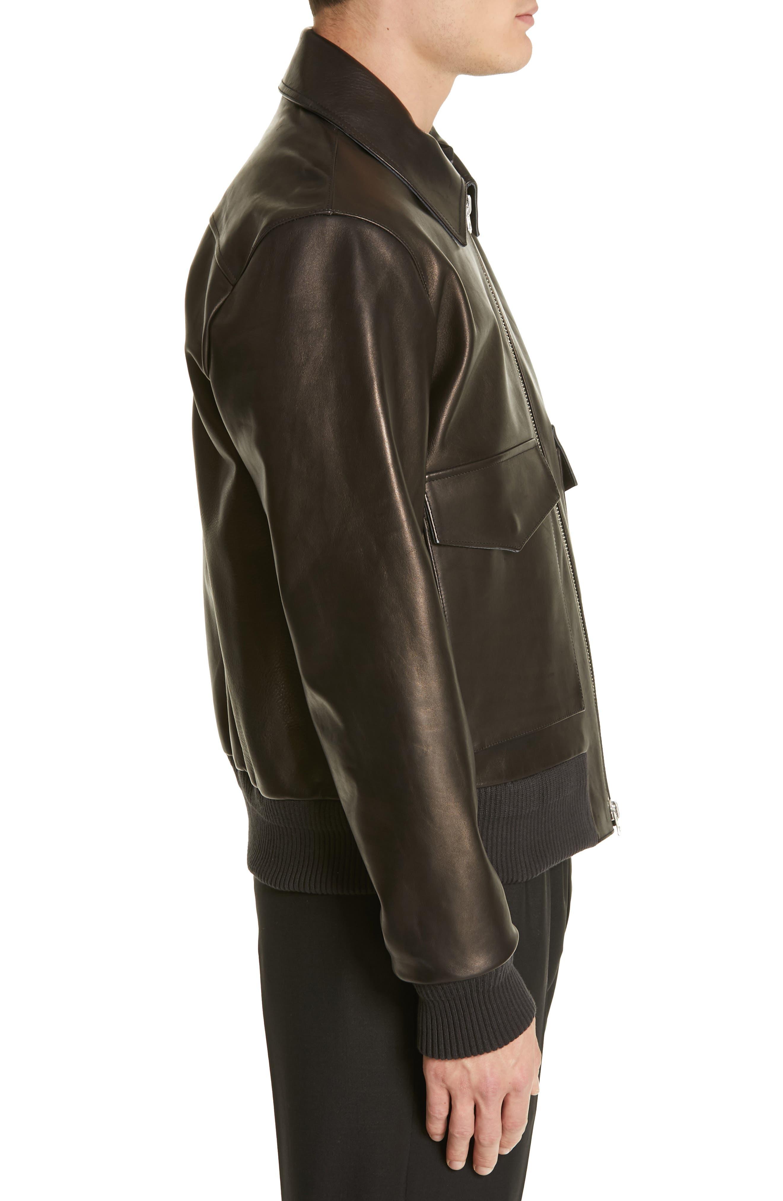 ,                             Lazlo Leather Bomber Jacket,                             Alternate thumbnail 3, color,                             BLACK