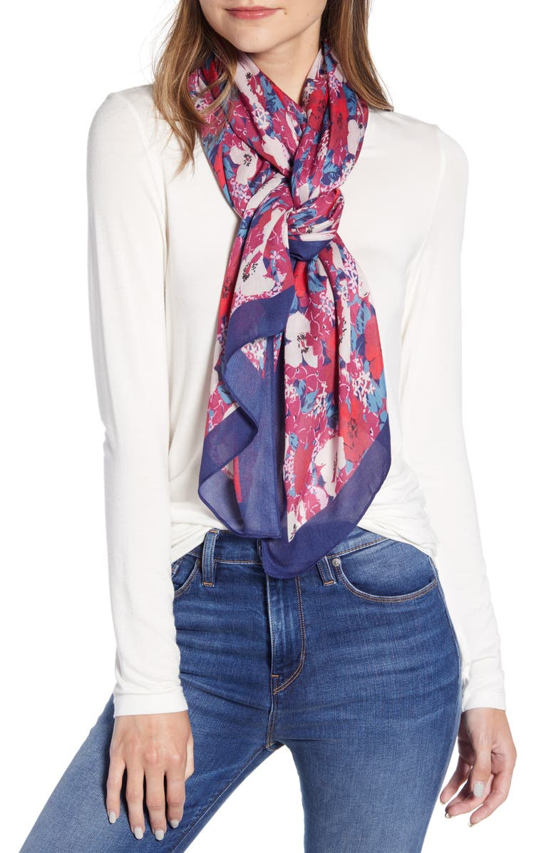 REBECCA MINKOFF Ballet Bouquet Scarf, Main, color, MULBERRY