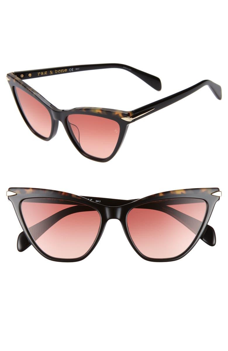 RAG & BONE 55mm Cat Eye Sunglasses, Main, color, 001