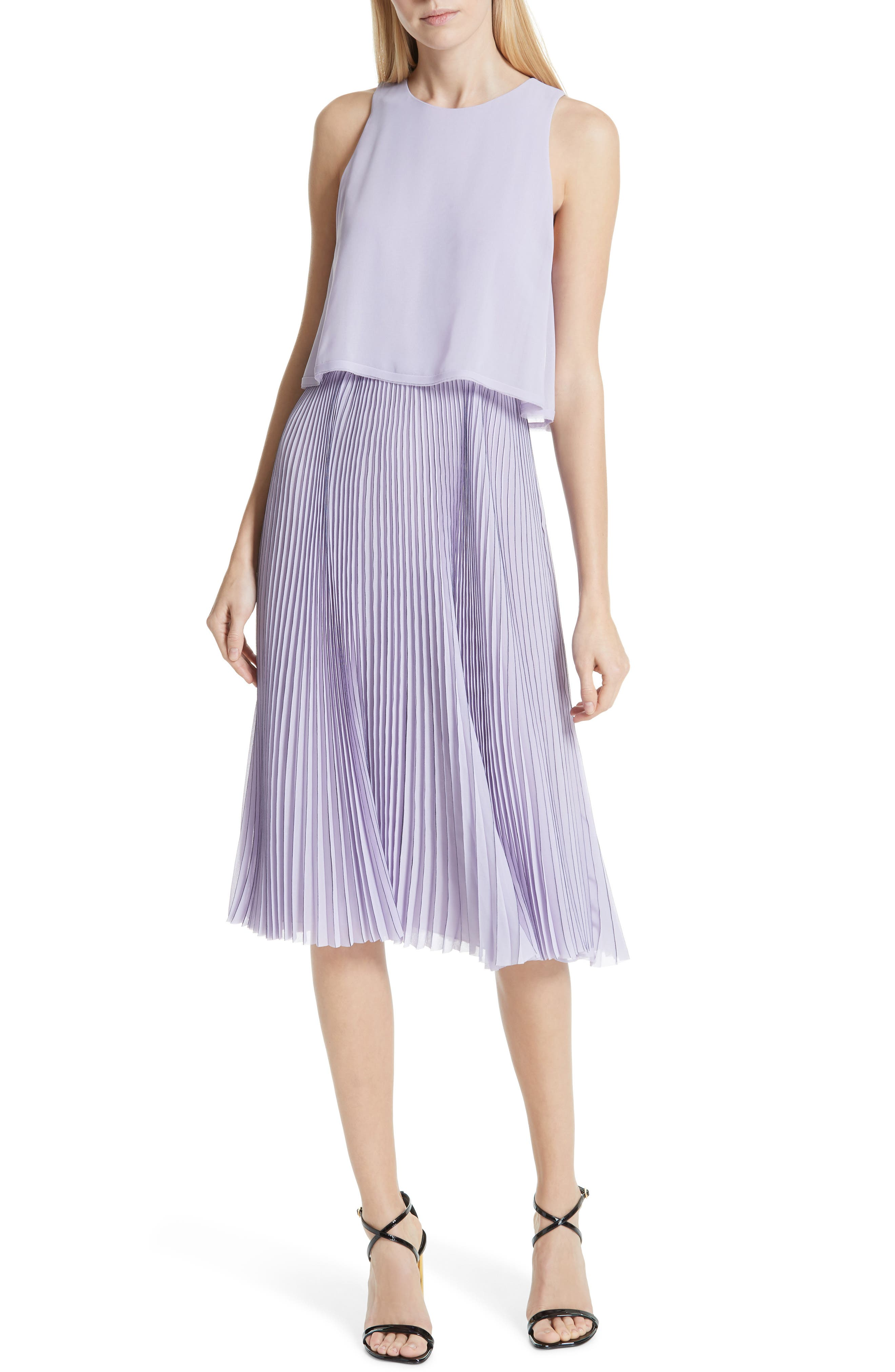 Pleated Popover Dress, Main, color, PASTEL MAUVE/ DARK NAVY