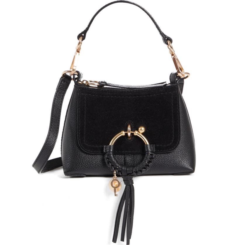 SEE BY CHLOÉ Mini Joan Leather Crossbody Bag, Main, color, BLACK