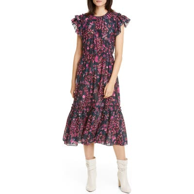 Ulla Johnson Arlene Ruffle Tiered Midi Dress, Blue