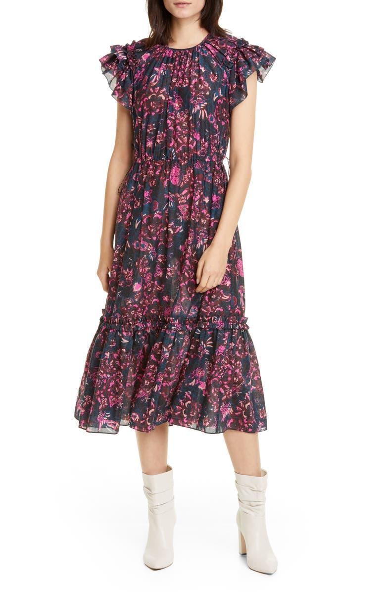 ULLA JOHNSON Arlene Ruffle Tiered Midi Dress, Main, color, MIDNIGHT