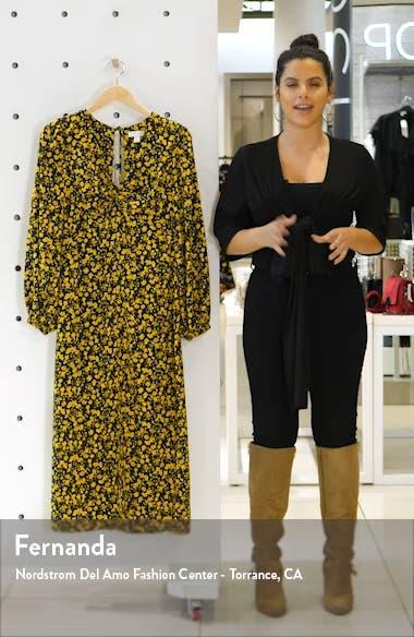 Floral Godet Twist Front Long Sleeve Midi Dress, sales video thumbnail