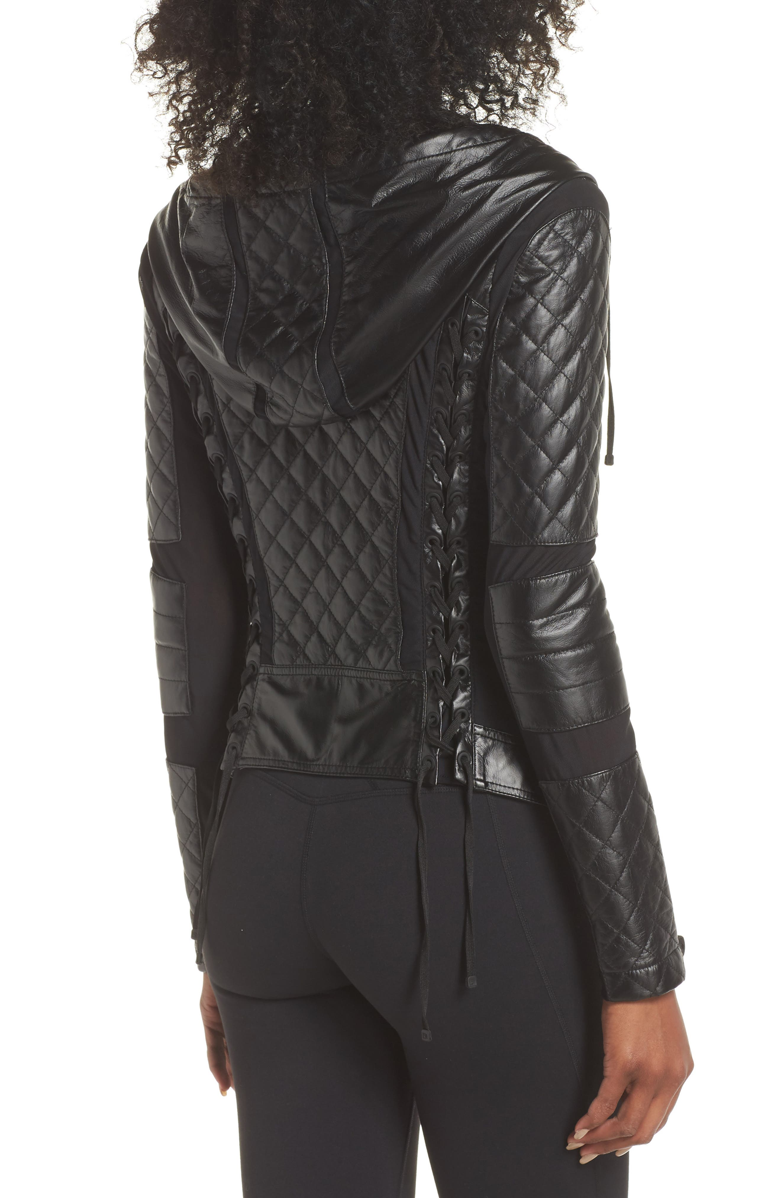 ,                             Voyage Hooded Leather & Mesh Moto Jacket,                             Alternate thumbnail 9, color,                             001
