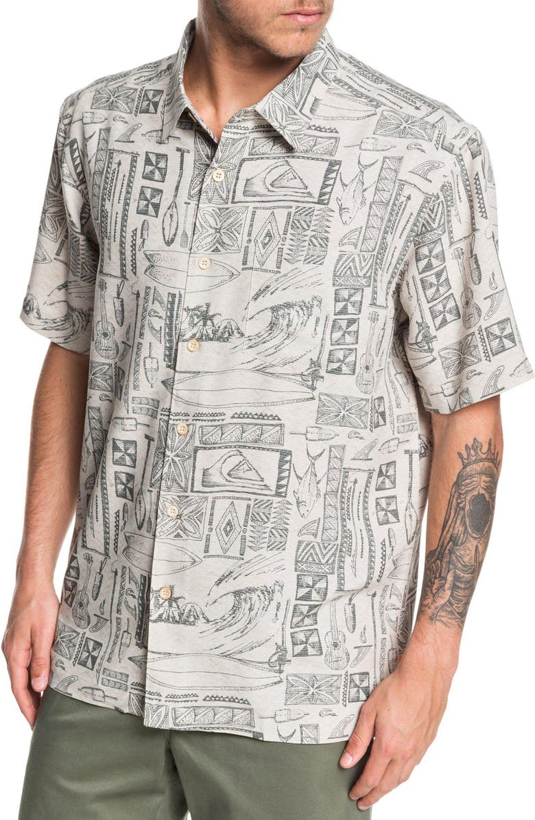 QUIKSILVER Vaianae Bay Regular Fit Short Sleeve Button-Up Shirt, Main, color, RAINY DAY VAIANAE