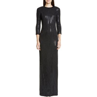 St. John Collection Evening Paillette Pinstripe Gown, Black