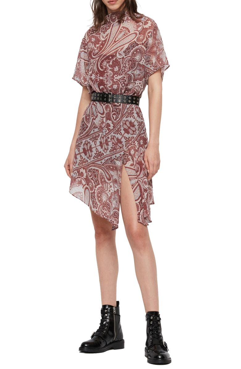 ALLSAINTS Giulia Paisley Scarf Dress, Main, color, RED