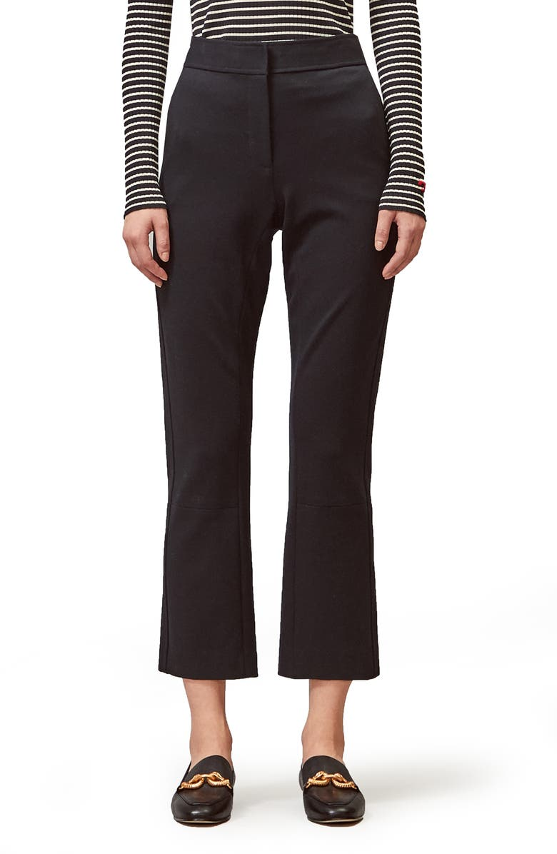 TORY BURCH Ponte Crop Flare Pants, Main, color, BLACK
