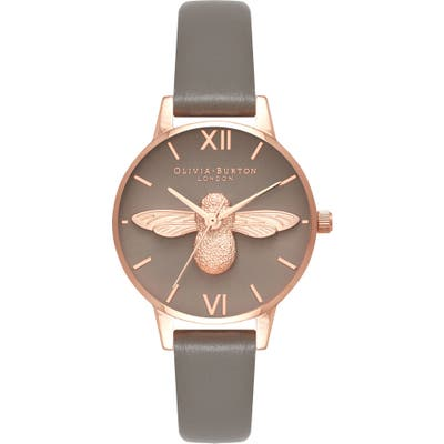 Olivia Burton 3D Bee Leather Strap Watch, 30Mm