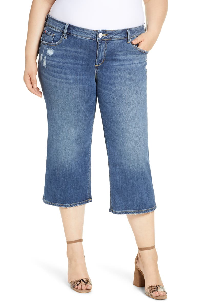SLINK JEANS Distressed Wide Leg Capri Jeans, Main, color, 400