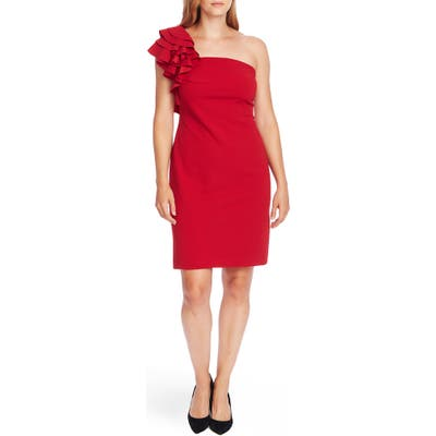 Vince Camuto Ruffle Detail One-Shoulder Crepe Sheath Dress, Red