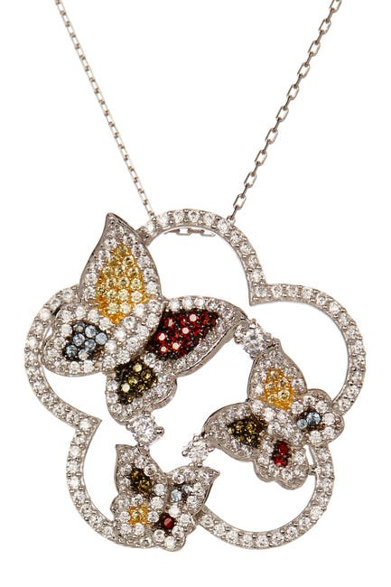 Image of Suzy Levian Sterling Silver Multicolor CZ Butterfly Pendant Necklace