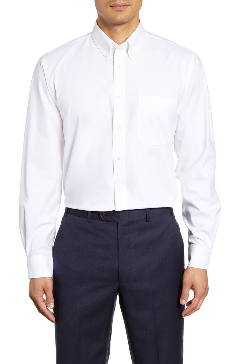 NORDSTROM MEN'S SHOP Tech-Smart Traditional Fit Stretch Pinpoint Dress Shirt, Main, color, WHITE