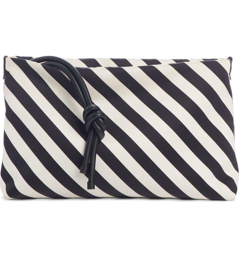 DRIES VAN NOTEN Stripe Leather Clutch, Main, color, 001