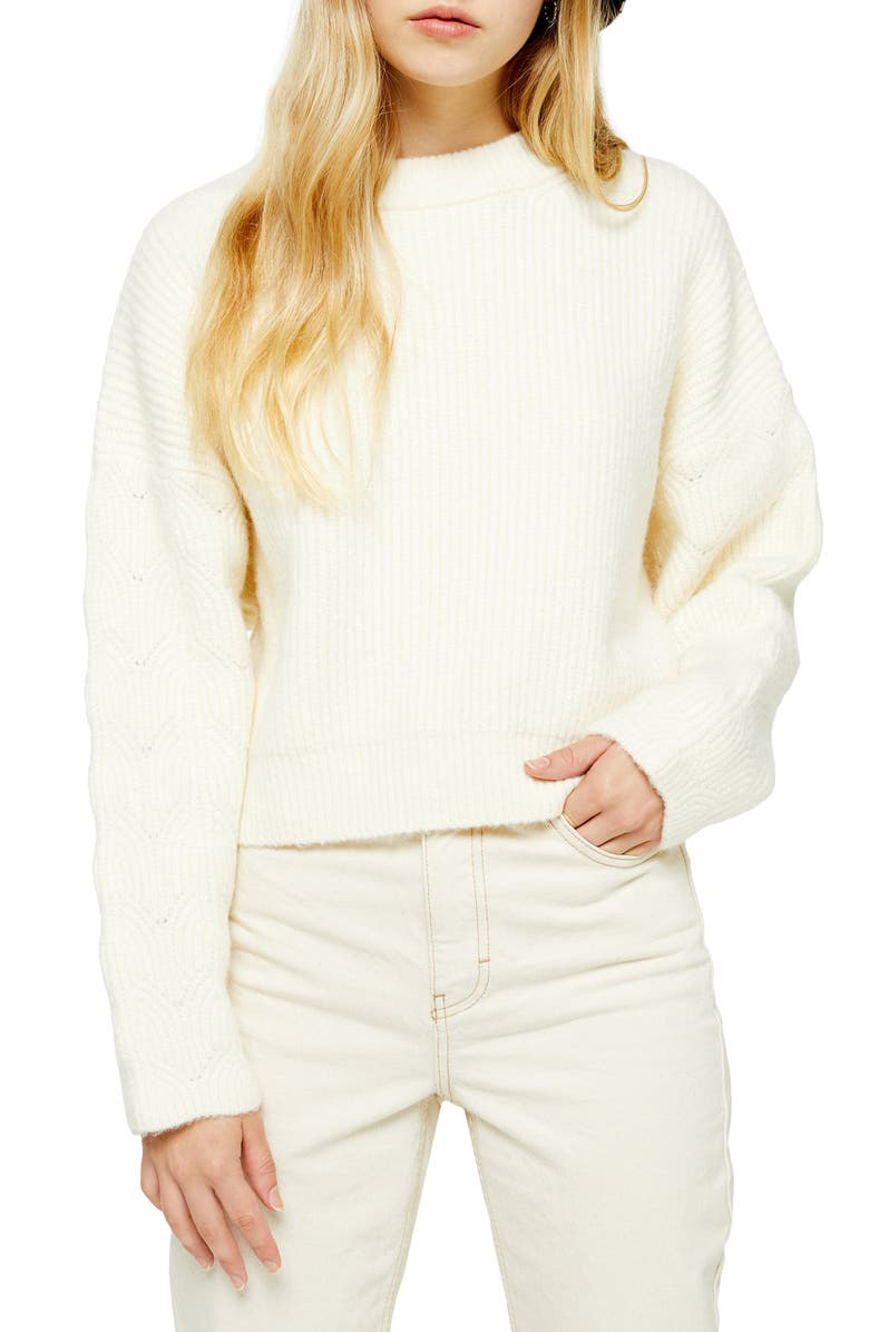 TOPSHOP Cable Knit Sleeve Sweater, Main, color, IVORY