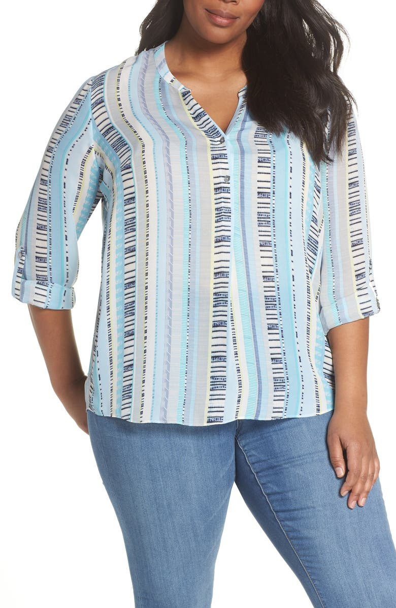 NIC ZOE Beach Stripe Split Neck Top Plus Size