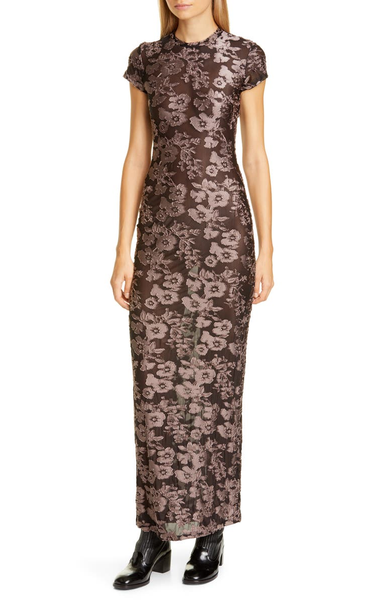 ECKHAUS LATTA Floral Velvet Maxi Dress, Main, color, STONE FLORAL