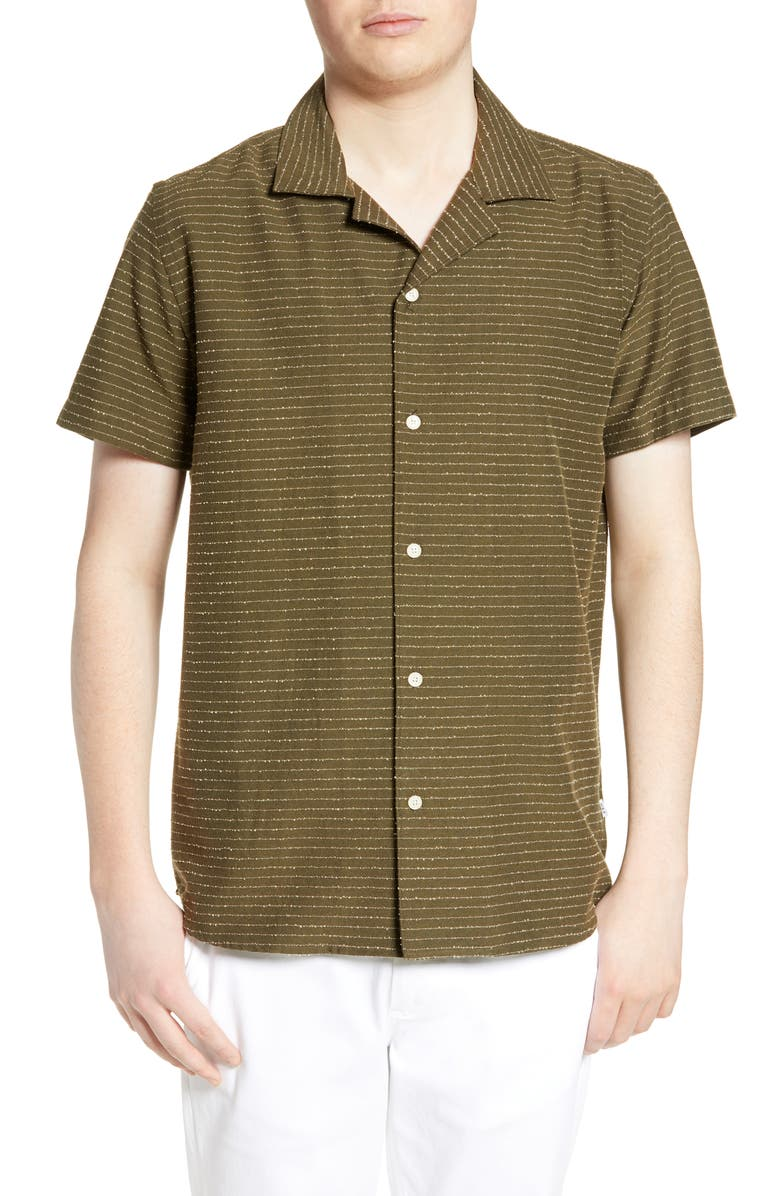 WAX LONDON Didcot Stripe Slim Fit Camp Shirt, Main, color, TORPEDO BOUCLE STRIPE