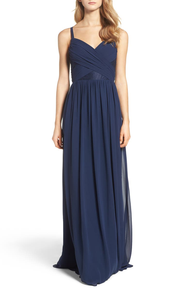 HAYLEY PAIGE OCCASIONS Sleeveless Chiffon Gown, Main, color, NAVY