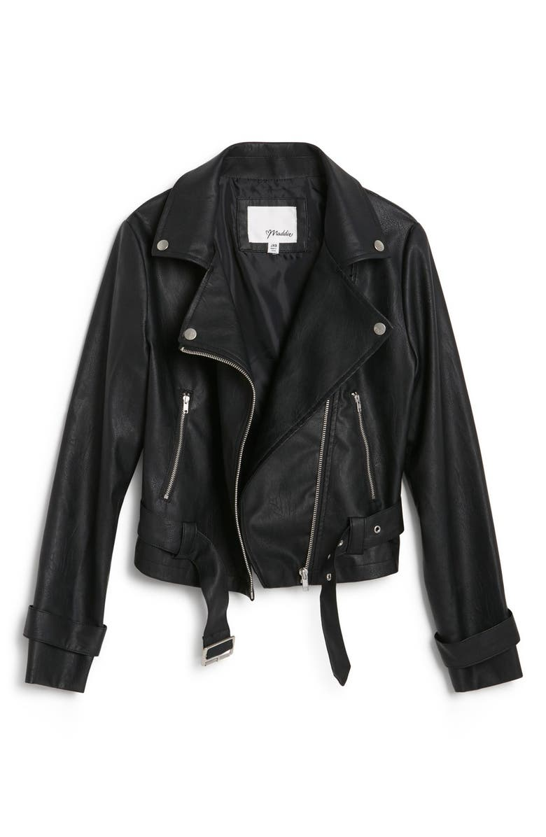 MADDIE Faux Leather Moto Jacket, Main, color, 001