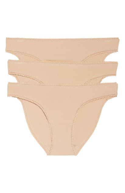 On Gossamer 3-pack Cotton Hip Bikinis In Champagne