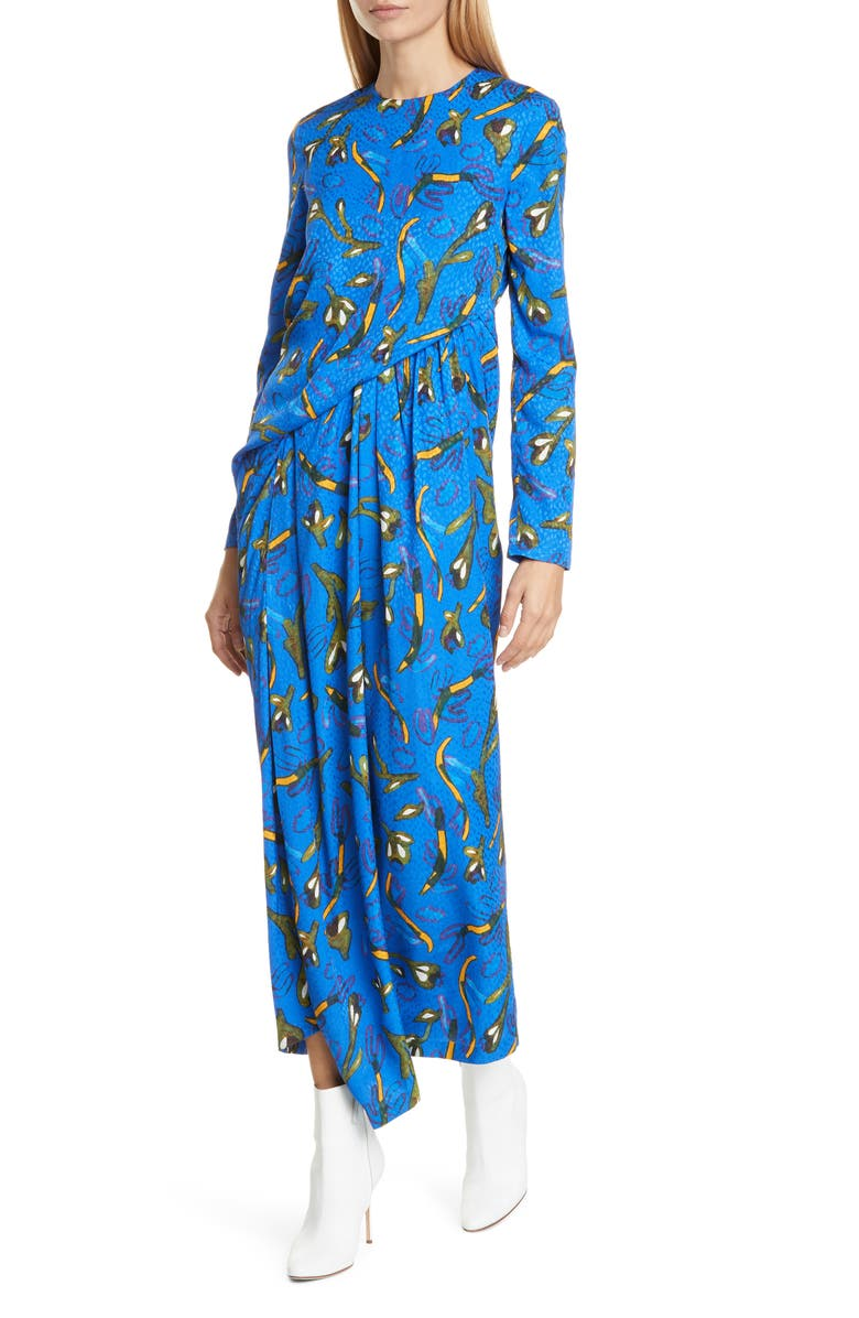 CHRISTIAN WIJNANTS Dele Long Sleeve Floral Maxi Dress, Main, color, FLOWERS BRIGHT BLUE